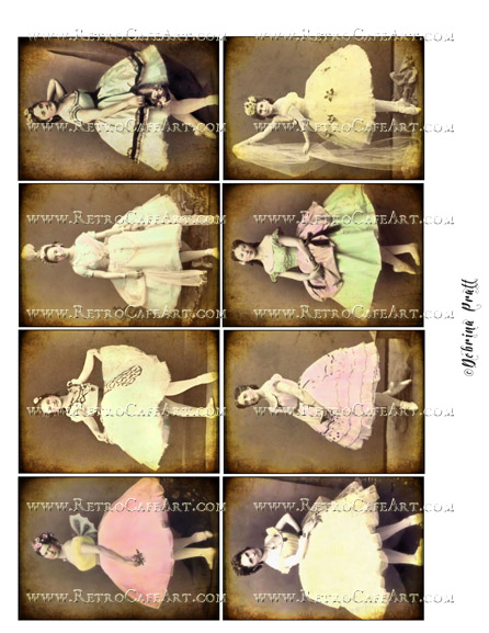 ATC Size Dancers Collage Sheet by Debrina Pratt - DP247