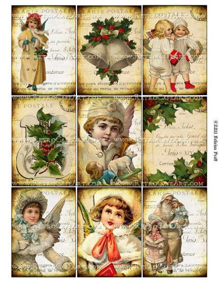 ATC Size Christmas Cheer Collage Sheet by Debrina Pratt - DP248