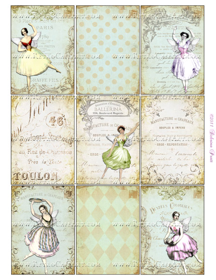ATC Size Fairy Dancers Collage Sheet by Debrina Pratt - DP253