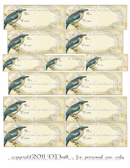 Blue Bird Tags Collage Sheet DIGITAL SET by Debrina Pratt - DP255