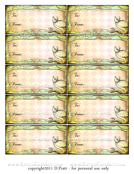 Owl WishesTags Collage Sheet DIGITAL SET by Debrina Pratt - DP257