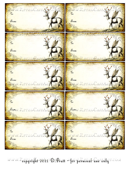 Vintage Deer Tags Collage Sheet DIGITAL SET by Debrina Pratt - DP258