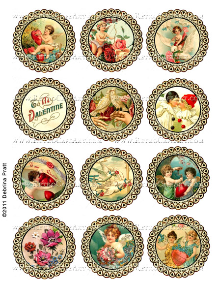 Valentine's Day Circle Labels Collage Sheet by Debrina Pratt - DP259