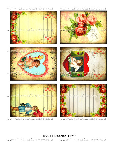ATC Size Valentine's Day Backgrounds Collage Sheet by Debrina Pratt - DP260