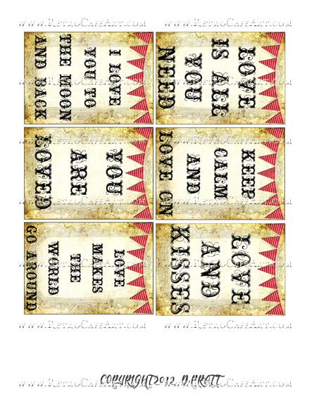 ATC Size Love Sentiments Collage Sheet by Debrina Pratt - DP261