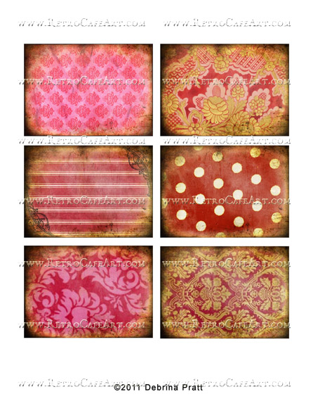 ATC Size Valentine's Day Patterns Collage Sheet by Debrina Pratt - DP263