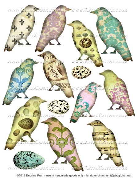 Birds Collage Sheet by Debrina Pratt - DP280