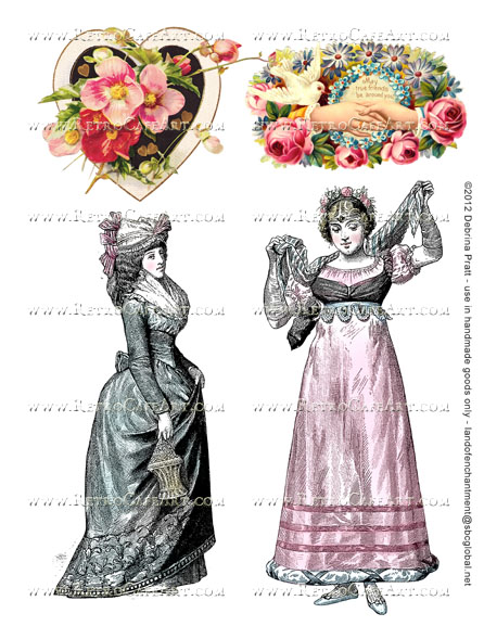 Lovely Large Ladies Collage Sheet by Debrina Pratt - DP281