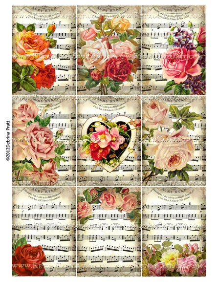 Gorgeous Vintage Music ATC Size Collage Sheet by Debrina Pratt - DP302