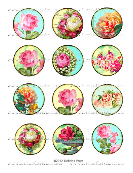 2 Inch Floral Circles Collage Sheet by Debrina Pratt - DP306