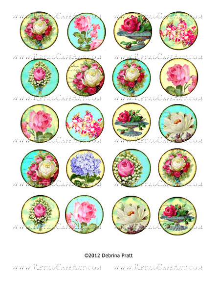 1.5 Inch Floral Circles Collage Sheet by Debrina Pratt - DP307