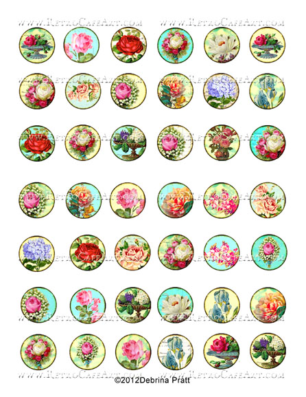 1 Inch Floral Circles Collage Sheet by Debrina Pratt - DP308