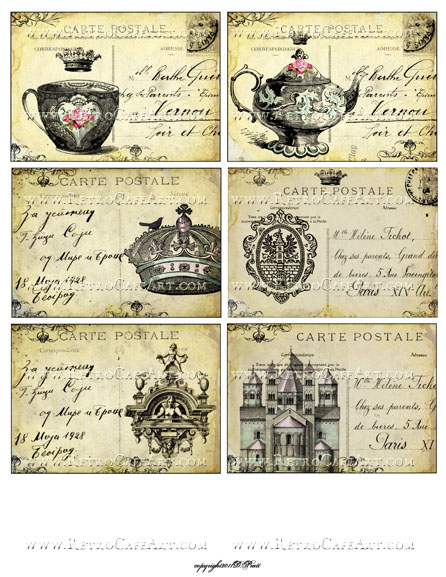 Queens of Tea Vintage Postcards Collage Sheet by Debrina Pratt - DP314