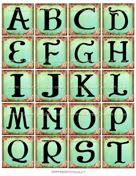 2 Inch Squares Aqua Rose Alphabet Set Collage Sheet by Debrina Pratt - DP31