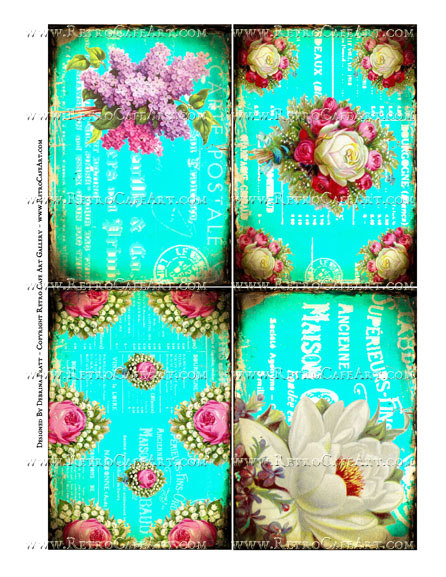 5 x 3.5 Inch Bright Vintage Floral Background Images Collage Sheet by Debrina Pratt - DP334