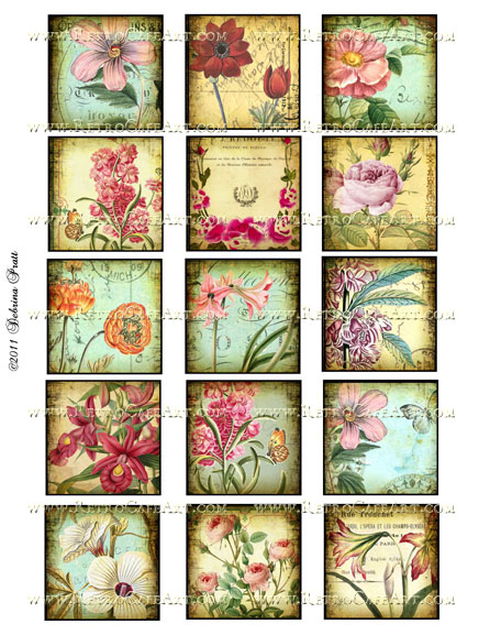 2 Inch Squares Floral Collage Sheet by Debrina Pratt - DP33