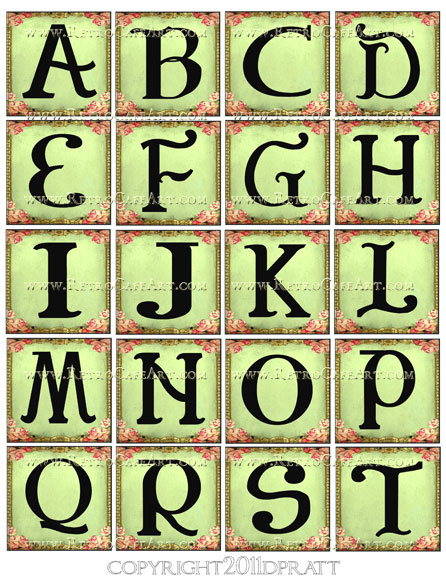 2 Inch Squares Green Rose Alphabet Set Collage Sheet by Debrina Pratt - DP34
