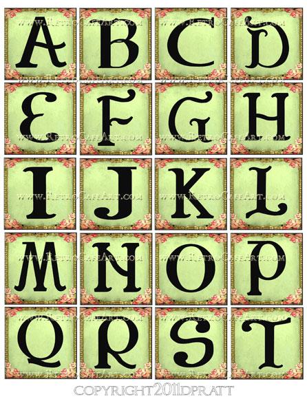 2 Inch Squares Green Rose Alphabet Set Collage Sheet by Debrina Pratt - DP34