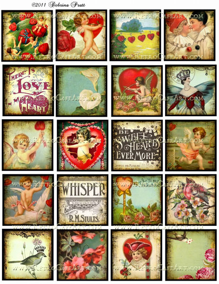 2 Inch Squares Valentine's Day Collage Sheet by Debrina Pratt - DP37