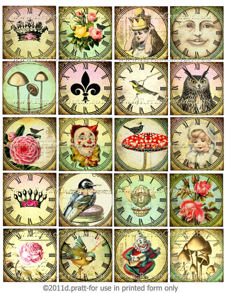 2 Inch Squares Watch Faces Collage Sheet by Debrina Pratt - DP41