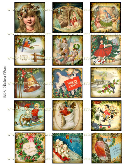 2 Inch Squares Christmas Collage Sheet by Debrina Pratt - DP42