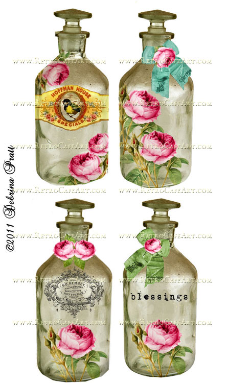 Antique Bottles Collage Sheet by Debrina Pratt - DP47