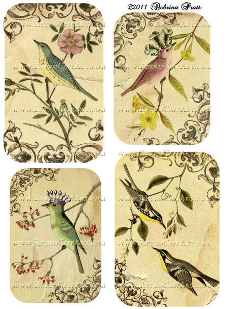 Birds and Branches Collage Sheet by Debrina Pratt - DP50