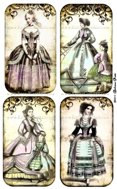 Vintage Fashion Plates Collage Sheet by Debrina Pratt - DP57