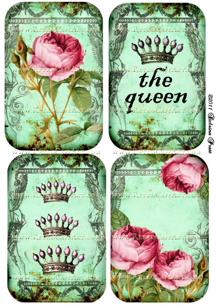 Roses and Crowns Collage Sheet by Debrina Pratt - DP68