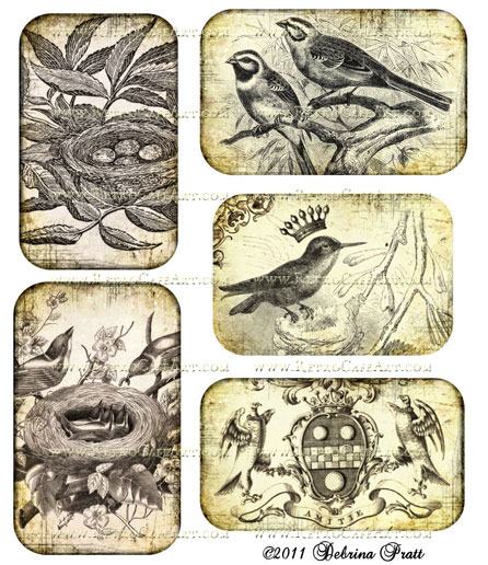 Sepia Birds Collage Sheet by Debrina Pratt - DP72