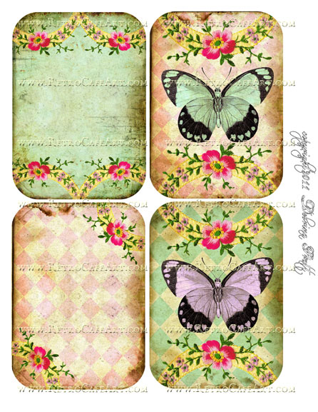 Diamond Butterflies Collage Sheet by Debrina Pratt - DP73