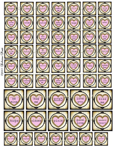 1 Inch and 1.5 Inch Word Heart Squares Collage Sheet by Debrina Pratt - DP7