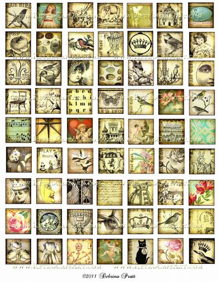 1 Inch Squares Collage Sheet by Debrina Pratt - DP8