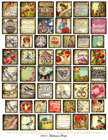 Assorted Squares Love Mix Collage Sheet by Debrina Pratt - DP95