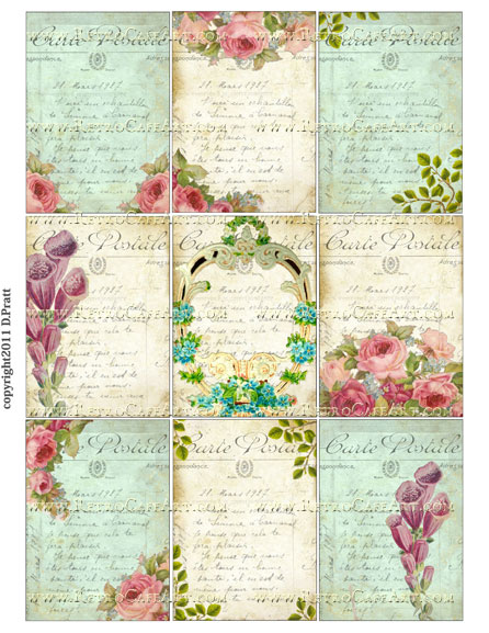 ATC Size Victorian Florals Collage Sheet by Debrina Pratt - DP98