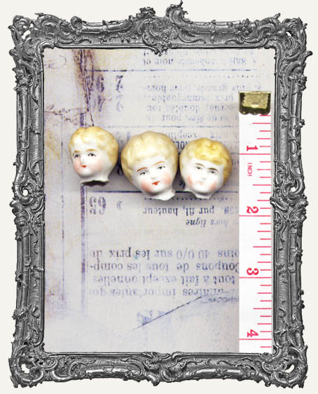 One Antique Hand-painted China German Doll Head BLONDE Hair EXTRA SMALL 1 Inch or Less