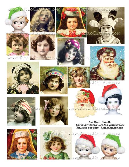Art Doll Head II Collage Sheet