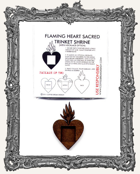 Flaming Heart Sacred Trinket Shrine PACK OF 2