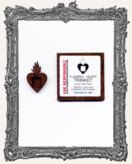 Flaming Heart Shrine Charm El Tiny Trinket PACKAGE OF 2