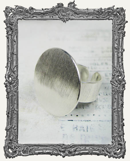 Silver Overlay FLAT Ring Blank Adjustable CIRCLE