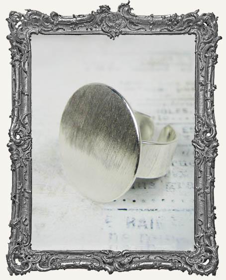 Silver Overlay FLAT Ring Blank Adjustable CIRCLE