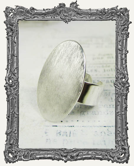 Silver Overlay FLAT Ring Blank Adjustable OVAL