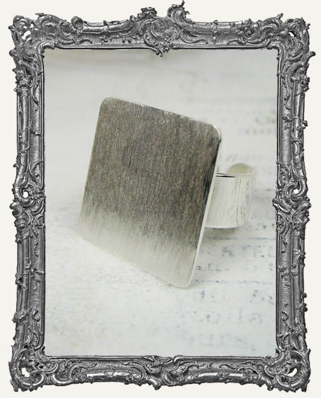 Silver Overlay FLAT Ring Blank Adjustable SQUARE