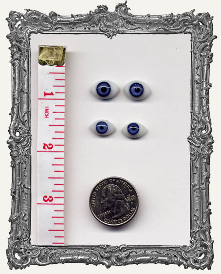 2 Antique German Glass Doll Eyes - Blue