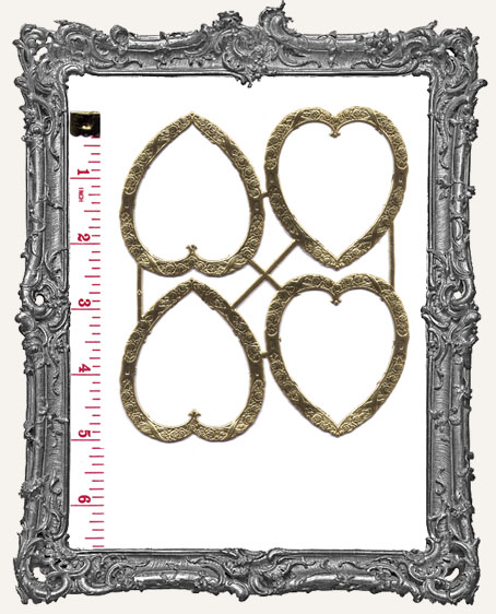 German Dresden GOLD Heart Frames 4 Pieces