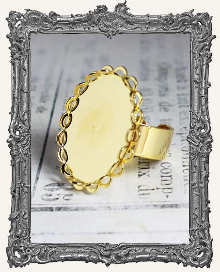 GOLD Victorian Lace Edge 25x18mm Setting Adjustable Ring Blank