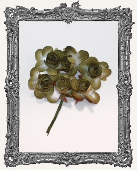MEDIUM Mini Paper Roses - Sage Green