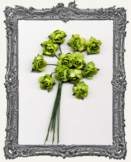 Lime Green Mini Paper Roses - 12