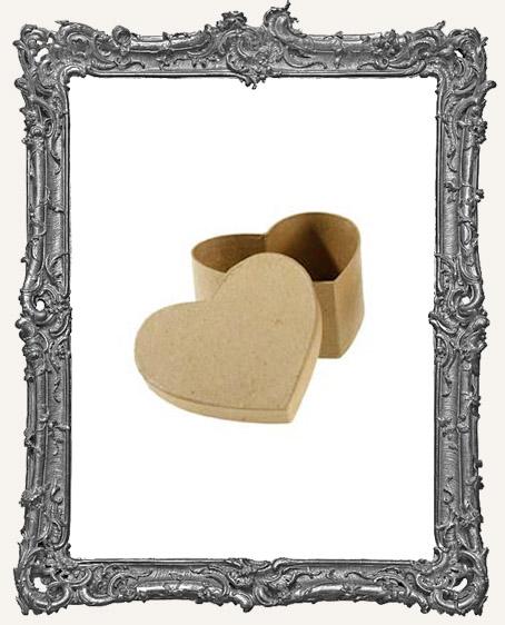 Paper Mache Heart Box - 3 Inch