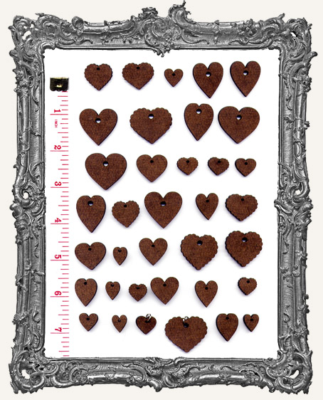 Heart Mix Set WITH CHARM HOLES - 36 Pieces